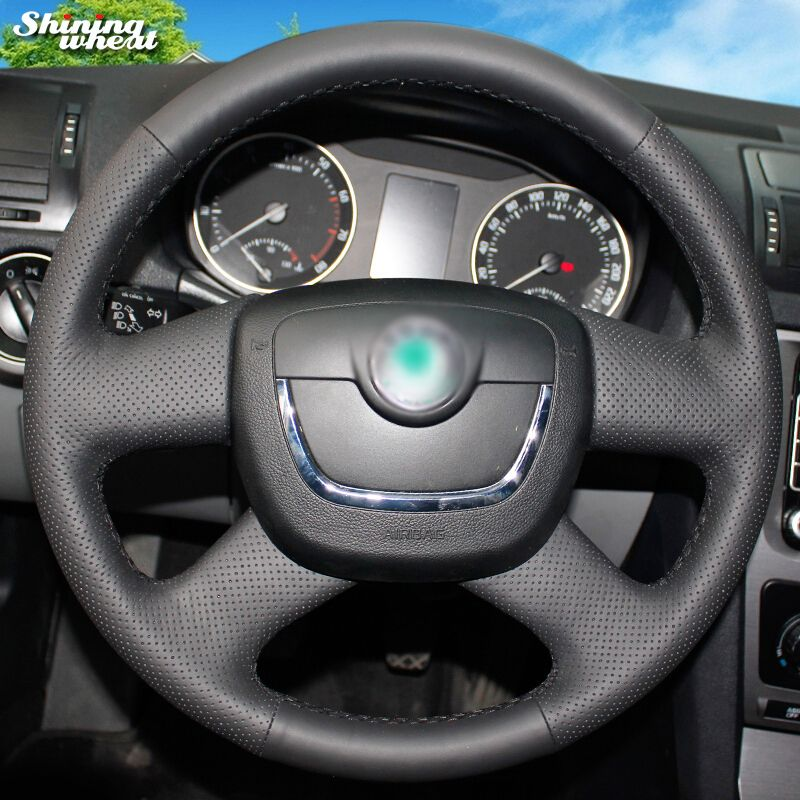 Shining Wheat Genuine Leather Steering Wheel Cover For Skoda