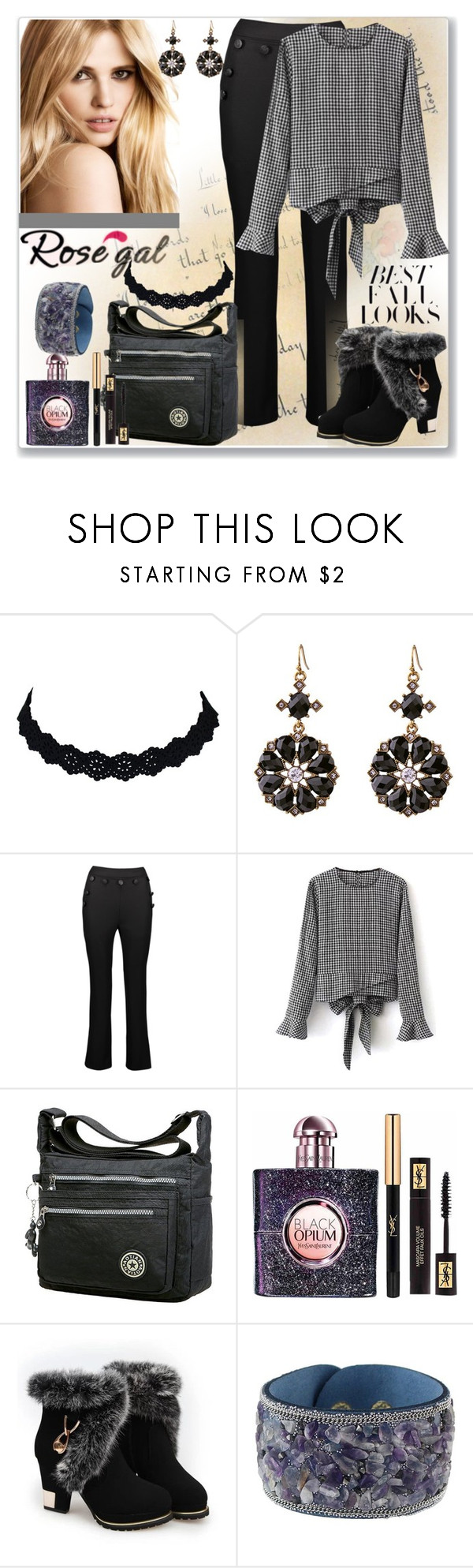 """Blouse - White And Black-33"" by ane-twist ❤ liked on Polyvore featuring Yves Saint Laurent and H&M"