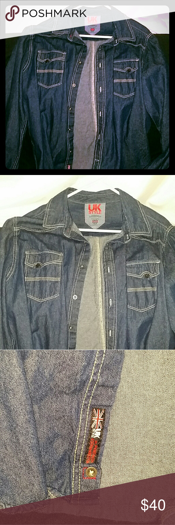 UK Style French Connection Denim Button Down Like new condition worn twice mens Denim Button Down size large color indigo great button down that looks like a jean jacket would be perfect with khakis or really nice pair of jeans for a fun night or daytime lunch with khakis or white jeans UK STYLE Shirts Casual Button Down Shirts