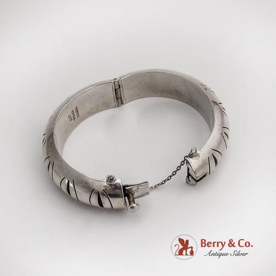 3f3d301d200 Cut Work Design Wide Hollow Bangle Bracelet Sterling Silver Mexico ...