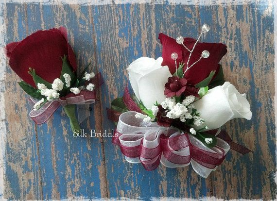 Burgundy And White Silk Roses Pin-on Corsage And