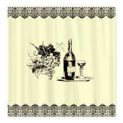 Vintage Grapes And Wine Fabric Shower Curtain Fabric Shower