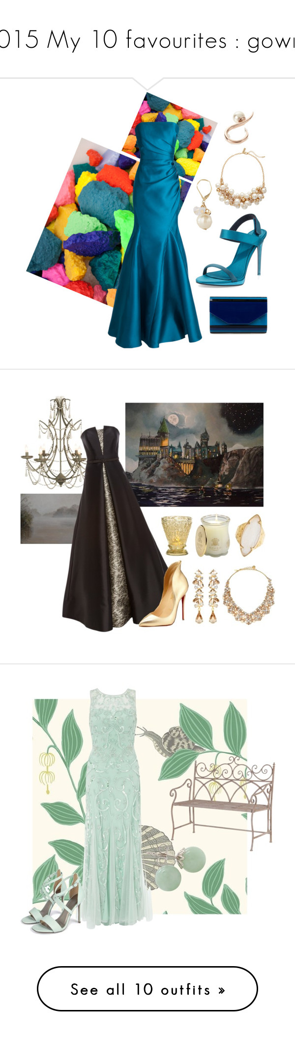"""""""2015 My 10 favourites : gowns"""" by mia-de-neef ❤ liked on Polyvore featuring Burberry, Badgley Mischka, The Limited, Ryan Storer, Ben-Amun, Charleston Artist Collective, Reem Acra, Christian Louboutin, Kate Spade and HEATHER BENJAMIN"""