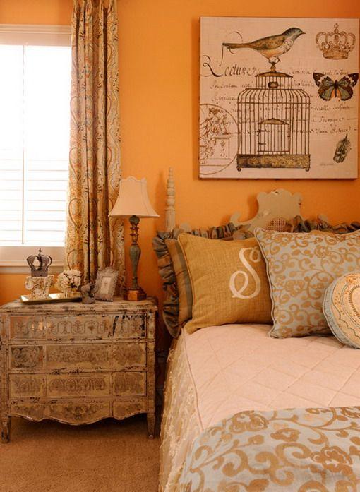 Orange Bedroom Design with Classic Birds Wall Art ...