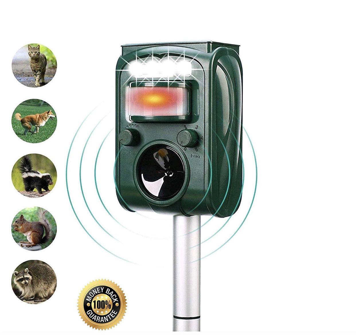 Ultrasonic animal repeller keep dogs, cats, birds