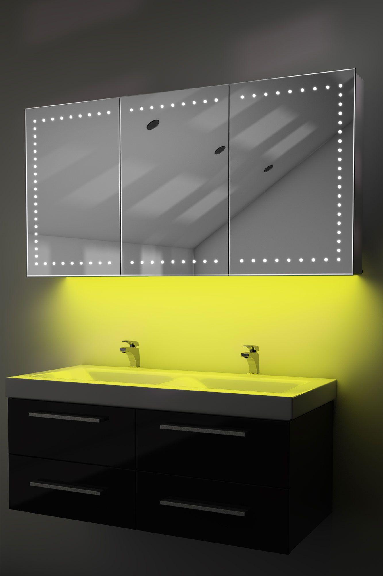 Demist Cabinet With Led Under Lighting Sensor Amp Internal Shaver Socket K377y Bathroom Mirror Frames On Wall Interior Lighting
