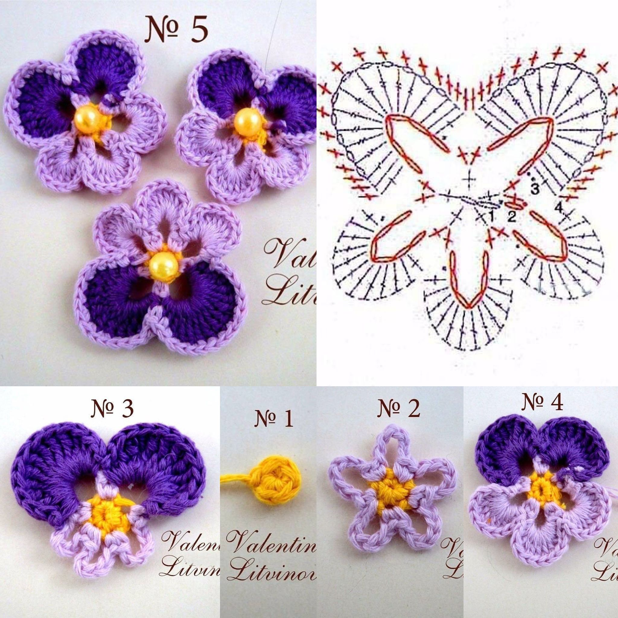 Анютины глазки | crochet flowers and leaves | Pinterest | Flores ...
