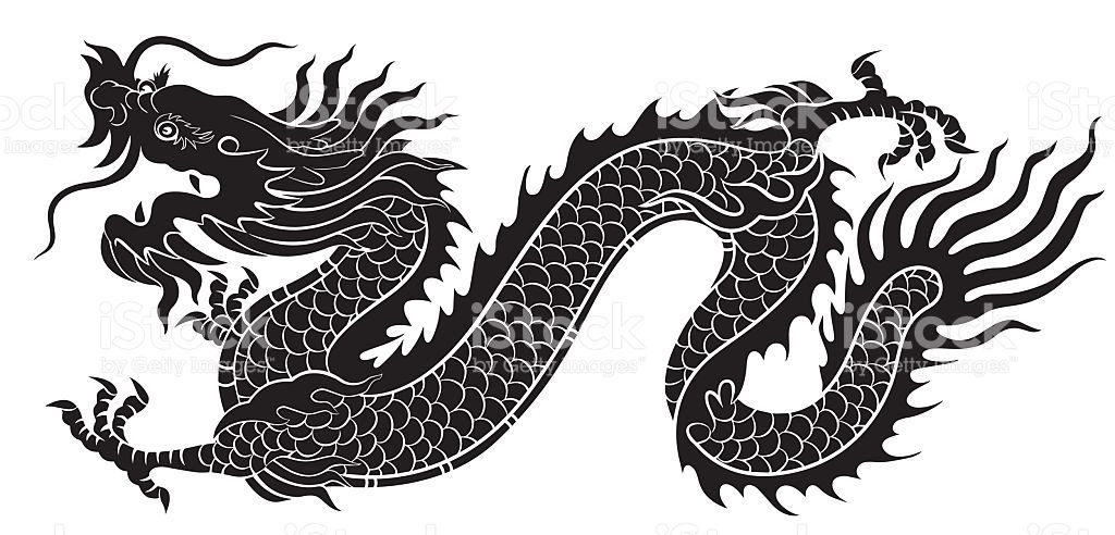 Silhouette Vector Of Chinese Dragon Crawling Dragon Illustration Dragon Silhouette Chinese Dragon
