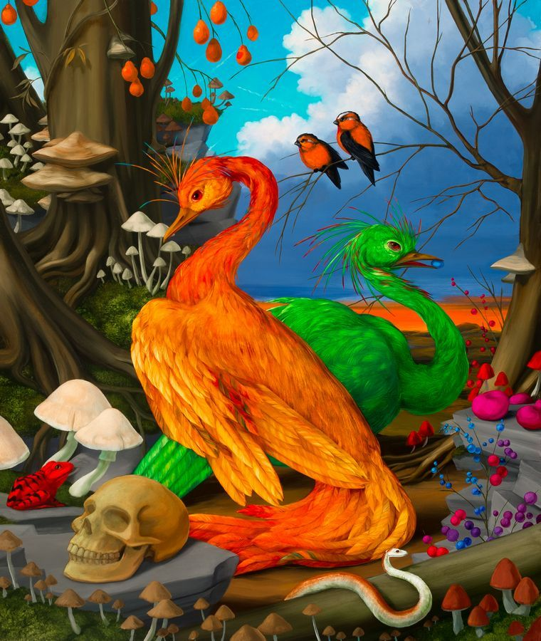 LAURIE HOGIN - Chemical Love Birds Excitatory & Inhibitory-Orange and Green, Amygdala Cranes, oil on canvas, 26 x 22