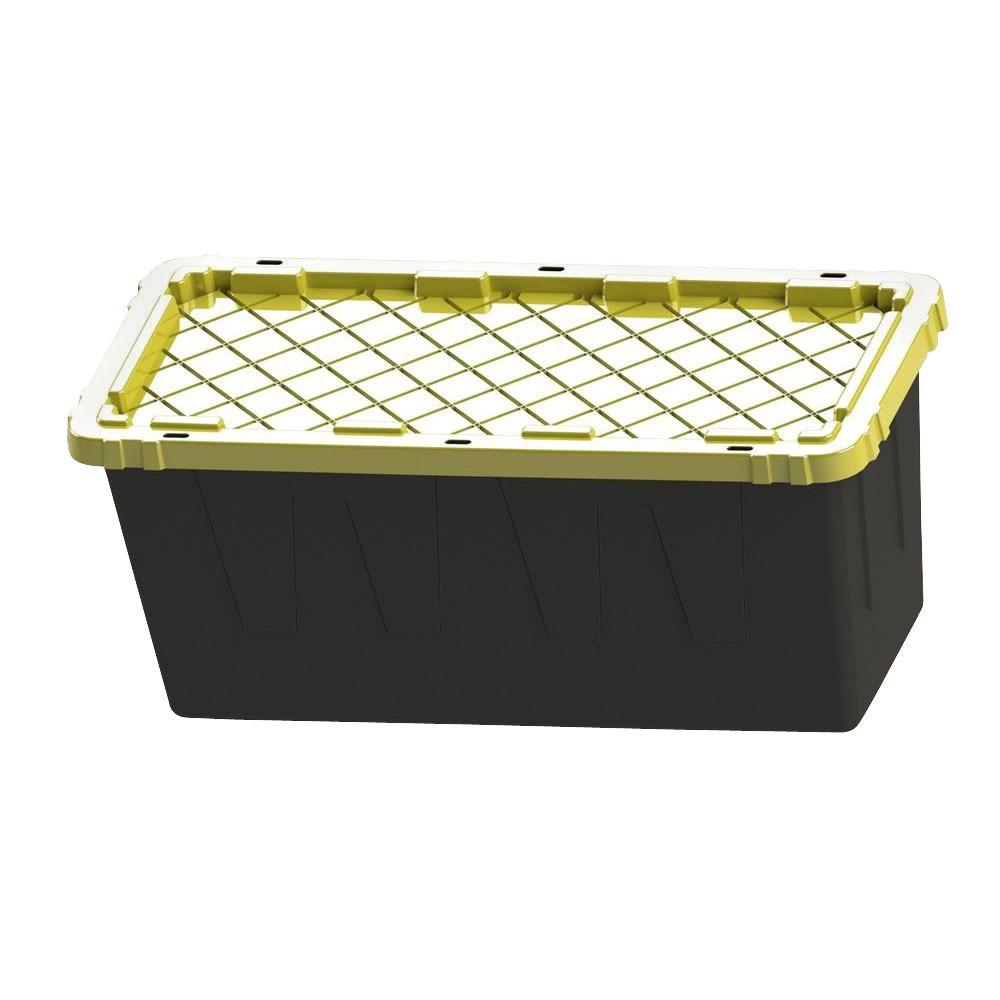 Hdx 55 Gal Storage Tote In Black I Think This Would Make A Great Planter For Veggies Tomatoes And Herbs It See Tote Storage Plastic Storage Totes Storage