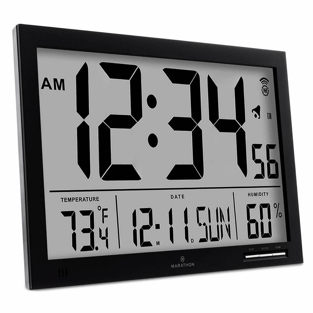 Marathon Cl030062bk Slim Jumbo Atomic Digital Wall Clock With Temperature Date Fashion Home Garde Atomic Wall Clock Wall Clock With Temperature Digital Wall