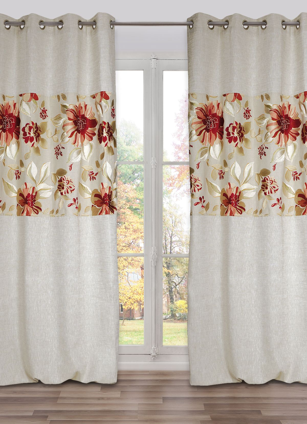 The Extra Long Curtain BUCOLIQUE In Red Has A Large Embroidery Flowers  Stripe Across The Panel   The Drapery Comes With Grommets   Made In France