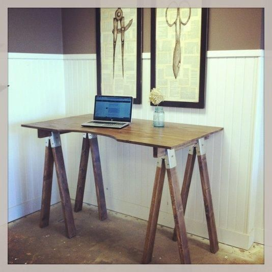 This Sawhorse Desk Is A Modern Take On A Vintage Farmhouse Look Sawhorse Desk Diy Wooden Desk Stand Up Desk