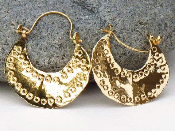 Rustic Gold Earrings Hammered 18k Hoops Handmade