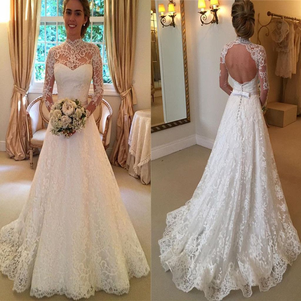 Vintage Country Boho Wedding Dresses Sheer Back Long Lace Applique Bridal Gowns