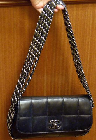 Authentic Chanel Black Quilted Lambskin 5 Chain Strap Handbag Bag Supple Subtle But A Little Bit With