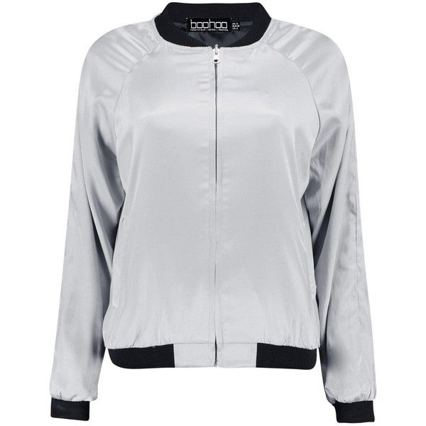 Boohoo Ellen Satin Reversible Bomber | Boohoo (469.875 IDR) ❤ liked on Polyvore featuring outerwear, jackets, satin jackets, satin bomber jacket, double face jacket, bomber jackets and reversible jacket