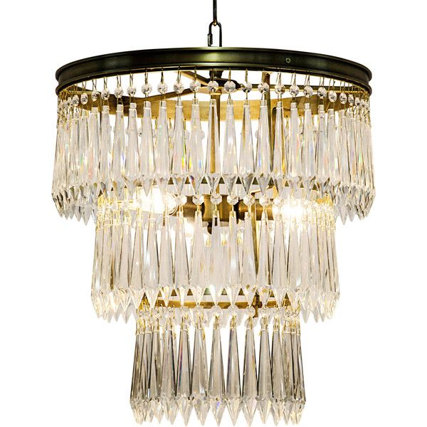 Sheridan Regency Antique Brass 3-Tier U-Drop Prism Chandelier - designer leuchten la murrina