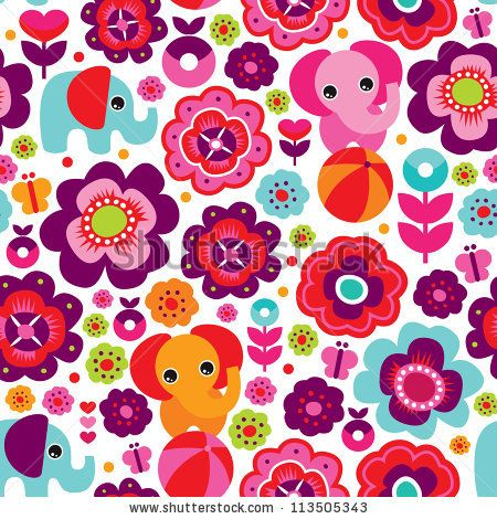 Seamless retro elephant, kids background pattern in vector - Vectorjunky - Free Vectors, Icons, Logos and More