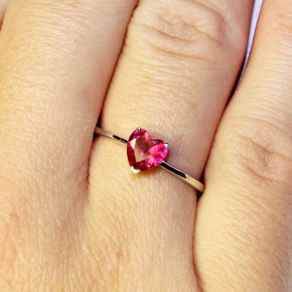 Ruby Heart Promise Ring Cubic Zirconia Red Jewelry Pinterest