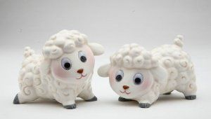 Fine Porcelain Figurine Salt and Pepper Shaker Set Collectible - Lambs S/P by Cosmos. $16.99