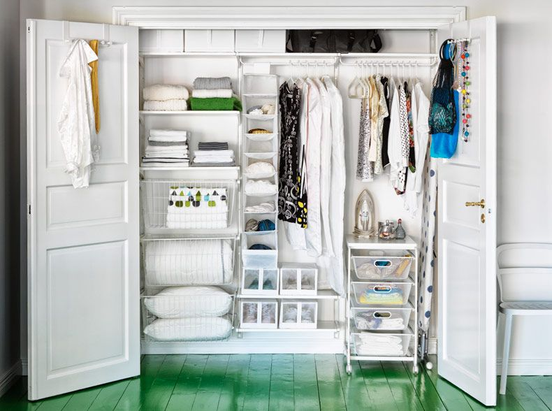 IKEA Wardrobe Setup With ALGOT And SKUBB Storage In White