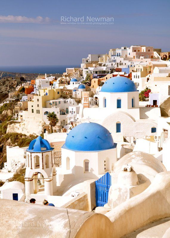 Photo of Greece Photography, Santorini, blue domes, Mediterranean decor, Greek Islands, Greek Architecture, photograph