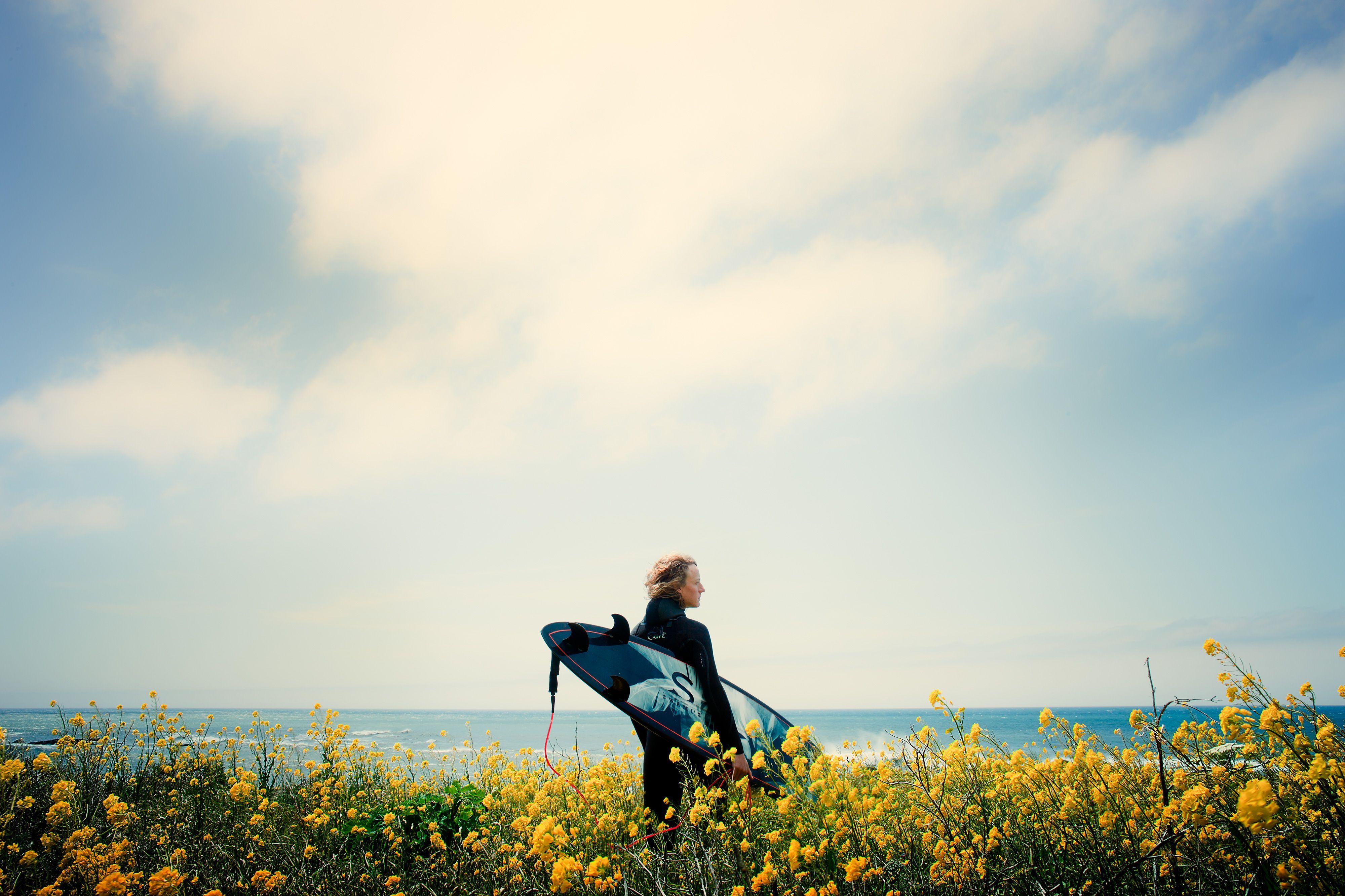 Surfer, Swami Surfboard, Flowers, California, Travel, Sports, Adventure