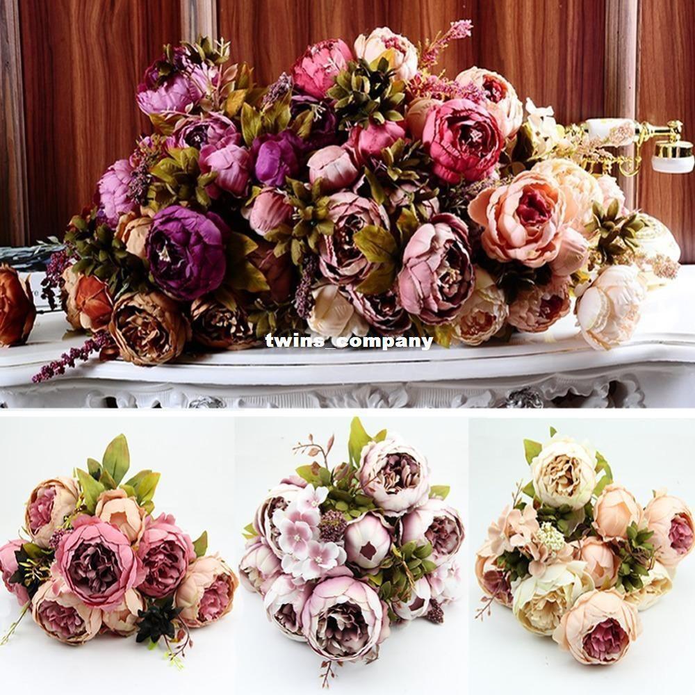 1 Bouquet 10 Heads Vintage Artificial Peony Silk Flower Wedding Home