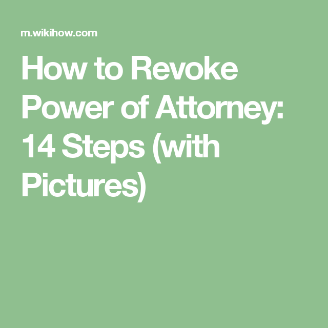 Revoke Power Of Attorney  Health Care