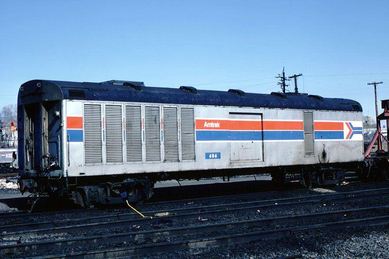 Amtrak 686. Head End Power Car. Rail car, Railroad