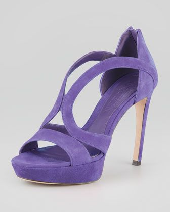 c59dc1029e2 Armadillo Low-Heel Double-Arched Suede Sandal