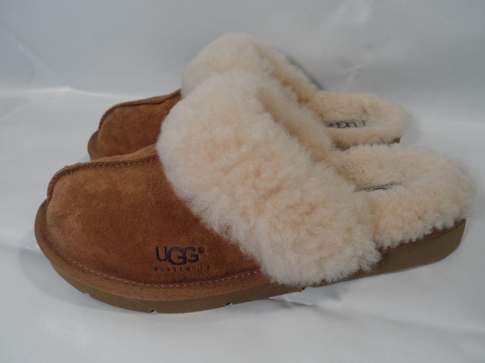 UGG Genuine SHEEPSKIN/Wool Clogs Slip-on Slipper Shoes CHESNUT AUTHENTIC Sz-7 #UGGAustralia #Scuffs