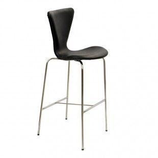 Z04 Banqueta Cromada Clean Alta Preto - Design Flex