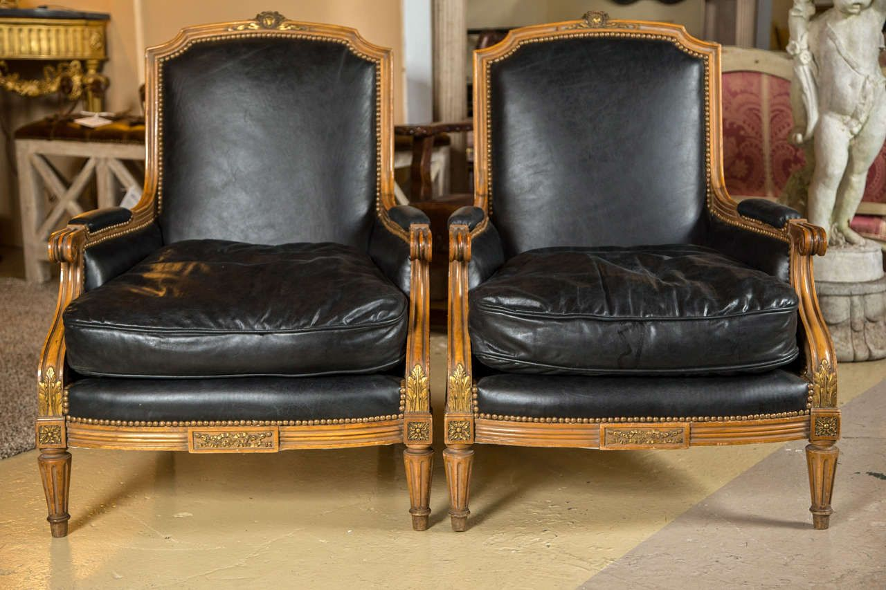 Pair of Louis XVI Style Worn Leather Bergere Chairs attributed to Jansen |  From a unique collection of antique and modern armchairs at ... - Pair Of Louis XVI Style Worn Leather Bergere Chairs Attributed To