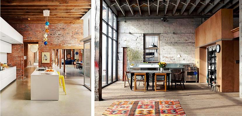Cocinas de estilo industrial con techos desnudos estilos - Techos altos decoracion ...