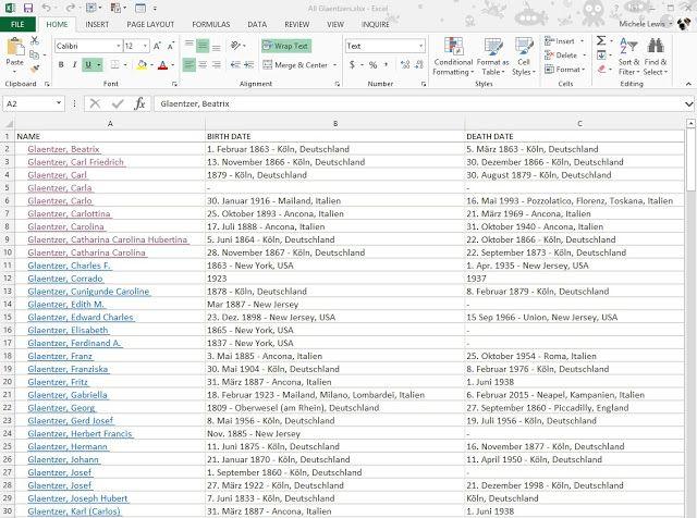 Ancestoring Excel trick Genealogy - Excel, Spreadsheets