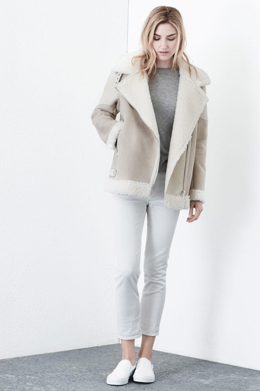 Jackets & Coats | Cream Oversized Borg Jacket | Warehouse ...