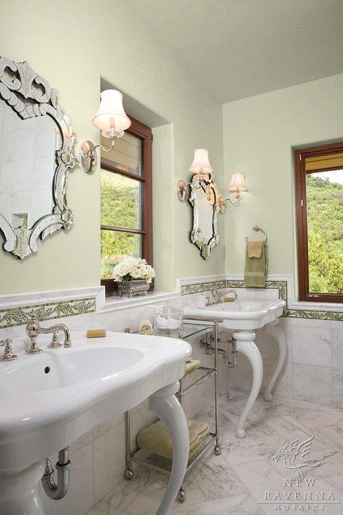 Acanthus 4 Mosaic Chair Rail In Thassos Chartreuse Verde Alpi With Calacatta Tia Marble Tile Floor Classic Bathroom Mosaic Bathroom Beautiful Bathrooms