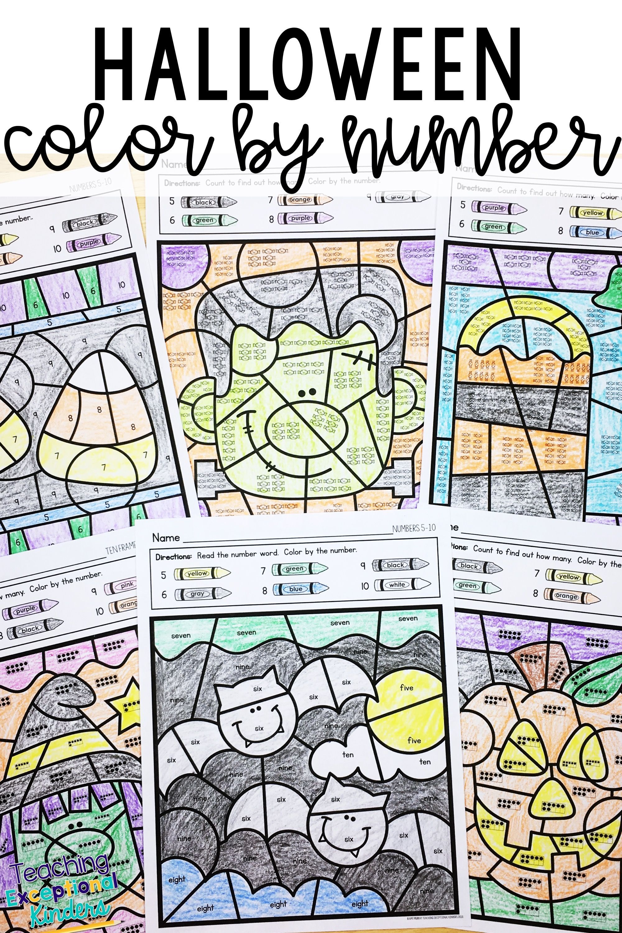 Halloween Color By Number Kindergarten Math Worksheets