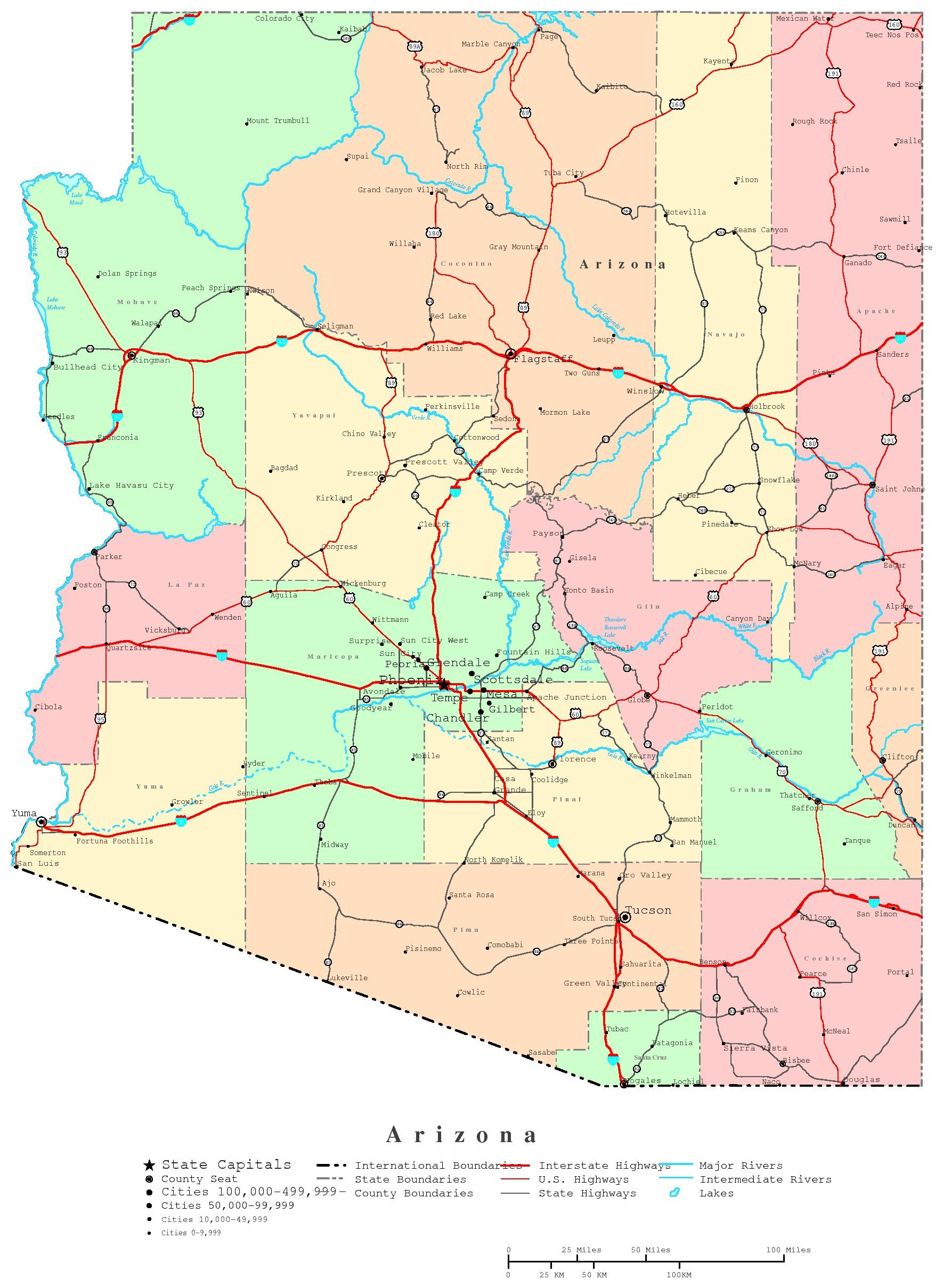 Arizona Map Printable Arizona Map Arizona AZ Pinterest - Road map of arizona