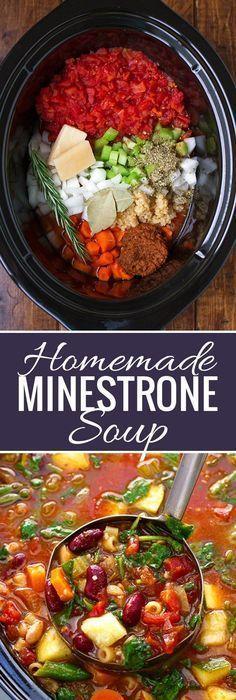Hausgemachte Minestrone-Suppe (Slow Cooker)  - Gesund - #Cooker #Gesund #hausgemachte #MinestroneSup...