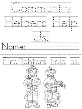 Community service coloring pages ~ Great printable Community Helpers book to cut, trace and ...