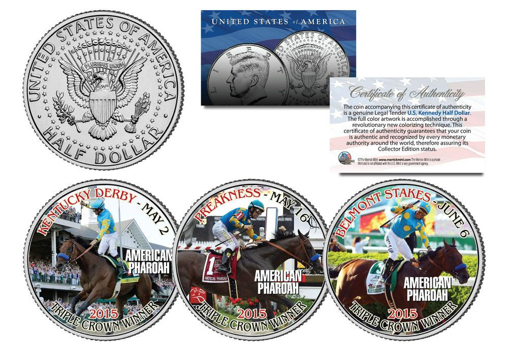AMERICAN PHAROAH 2015 Triple Crown Winner JFK Half Dollar 3-Coin Set -TEST ISSUE