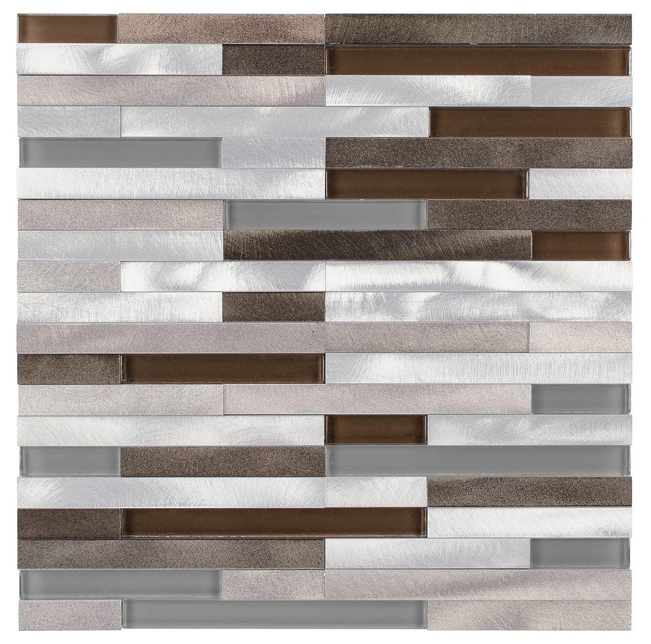 Aluminum Glass Mosaic Tile Taupe Mix Stripes