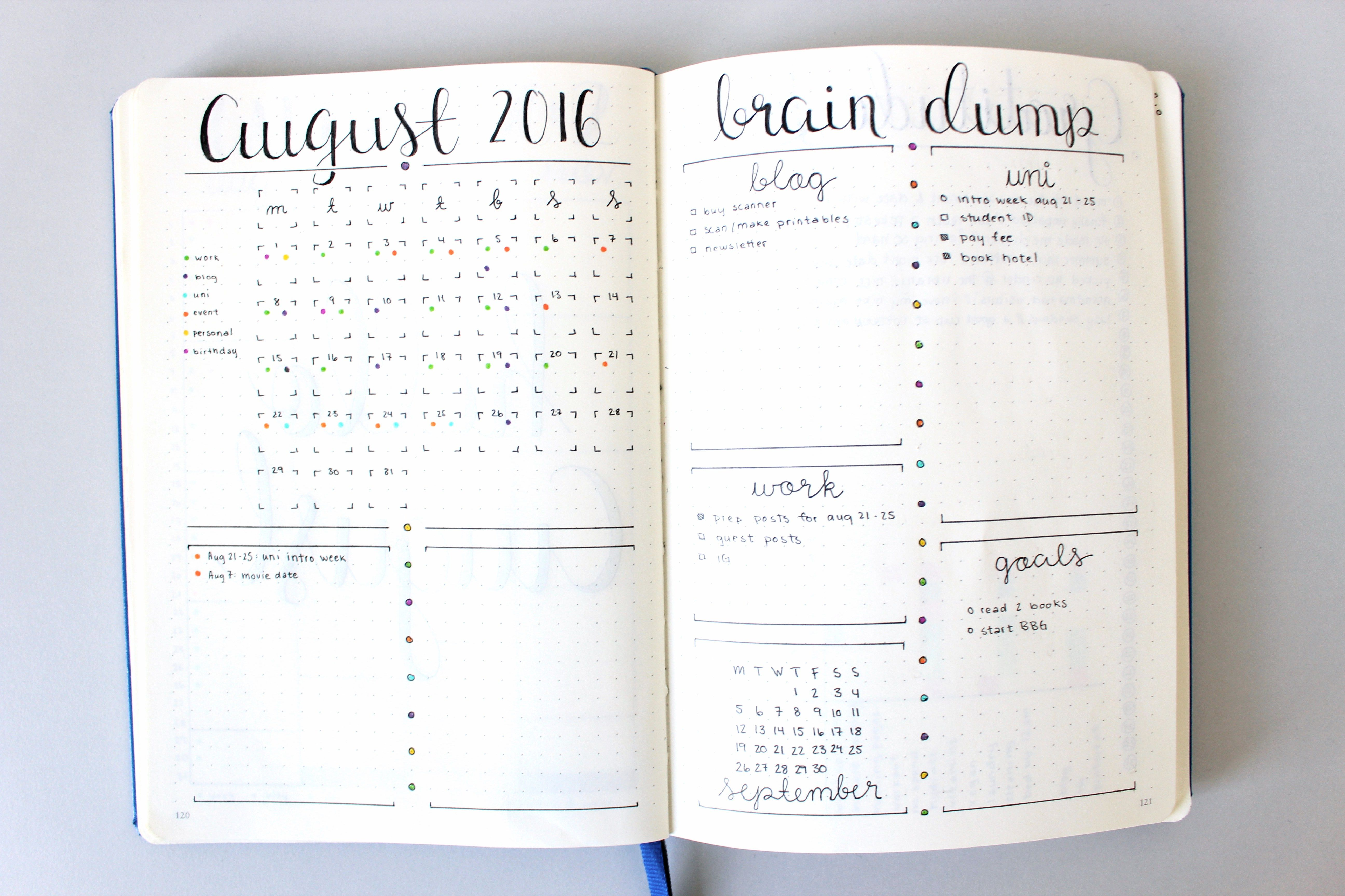 Dot Calendar Bullet Journal : The dot calendar is a minimalistic monthly log for your