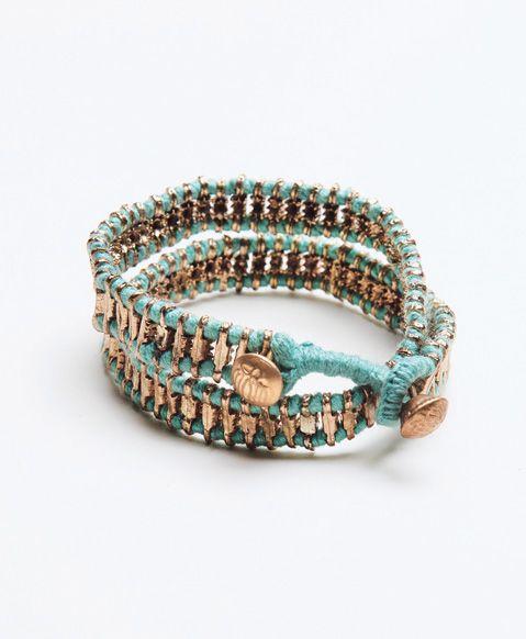 Minted thread entwines with geometric brass beads for an exotic addition to your arm party. - See more at: http://www.noondaycollection.com/bracelets/everest-wrap-bracelet-mint#sthash.Gb0obCXq.dpuf