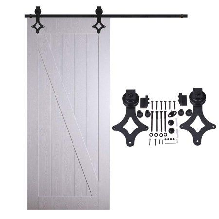 American 12 Ft Sliding Wood Barn Door Hardware Sliding Track Kit Steel Rhombic Diamond Style Dark B Double Sliding Barn Doors Wood Barn Door Barn Door Hardware