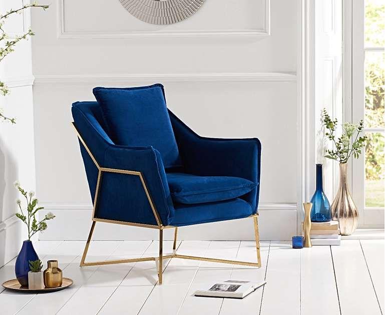 London Blue Velvet Accent Chair In 2019 Blue Velvet Accent Chair