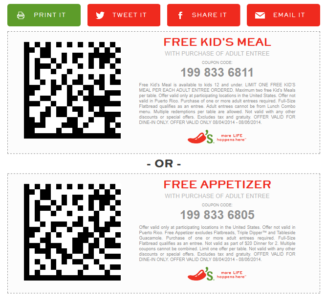 chilis coupons july 2019